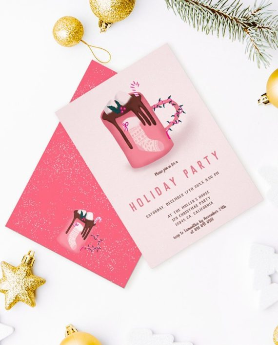 Cute christmas mug invitation preview mockup