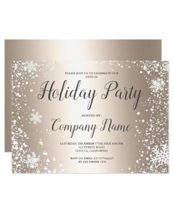 Gold snowflakes typography corporate Christmas printable invitation