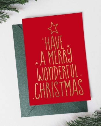 Have a merry wonderful Christmas tree gold on red Holiday Card preview front
