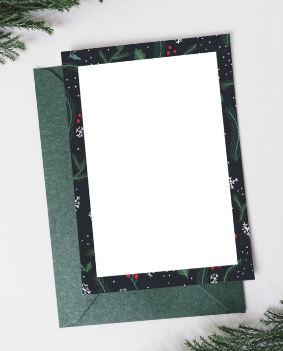 Ho script Christmas green red pattern mistletoe Holiday Card back preview