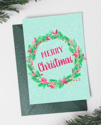 Merry Christmas script pastel watercolor wreath front preview