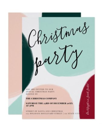 Modern bold corporate Christmas shapes block printable Invitation