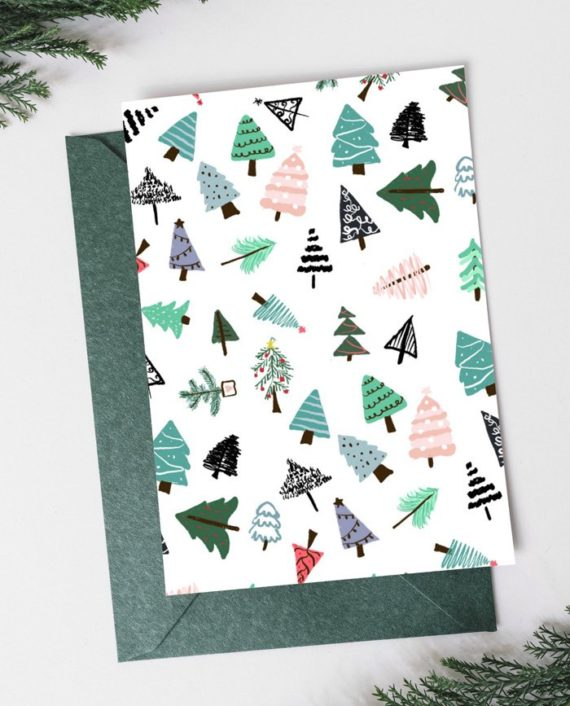 Modern cute Merry Christmas tree pattern script Holiday Card preview back