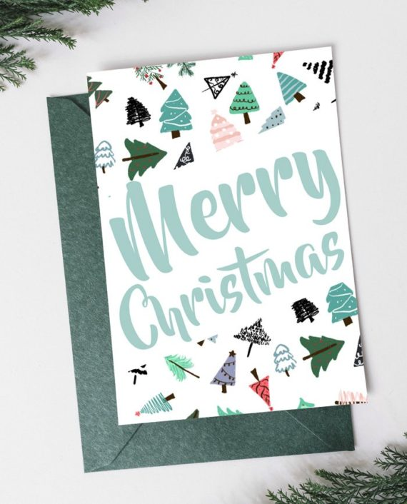 Modern cute Merry Christmas tree pattern script Holiday Card preview front