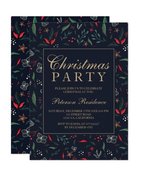 Modern festive floral red green Christmas party Invitation printable