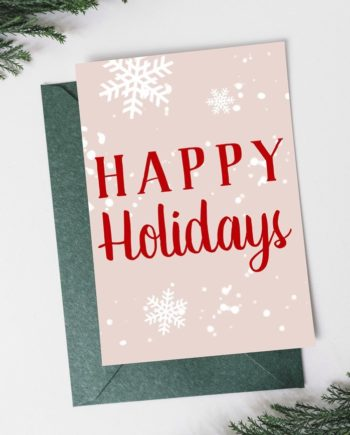Pastel pink red snow modern typography christmas holiday card front preview