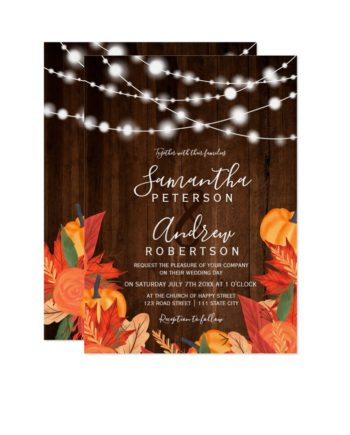 Rustic wood string lights pumpkin leaf wedding printable invitation