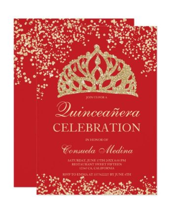 gold glitter red crown tiara Quinceañera Invitation printable