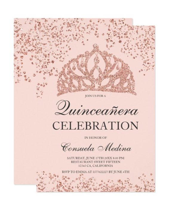 rose gold glitter blush pink crown tiara Quinceañera Invitation