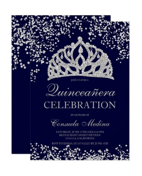 silver glitter navy blue crown tiara Quinceañera Invitation