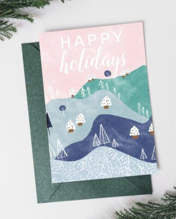 whimsical mountains christmas trees holidays holiday card preview 1