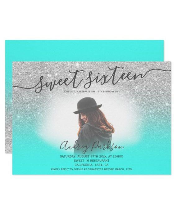 Silver glitter mint green chic Sweet 16 photo Invitation landscape