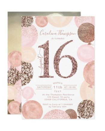 Chic rose gold glitter pink balloon Sweet 16 photo Invitation printable