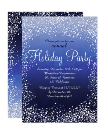 Navy blue snow watercolor corporate holiday printable invitation