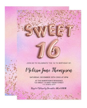 Rose gold confetti balloons pink pearl Sweet 16 Invitation