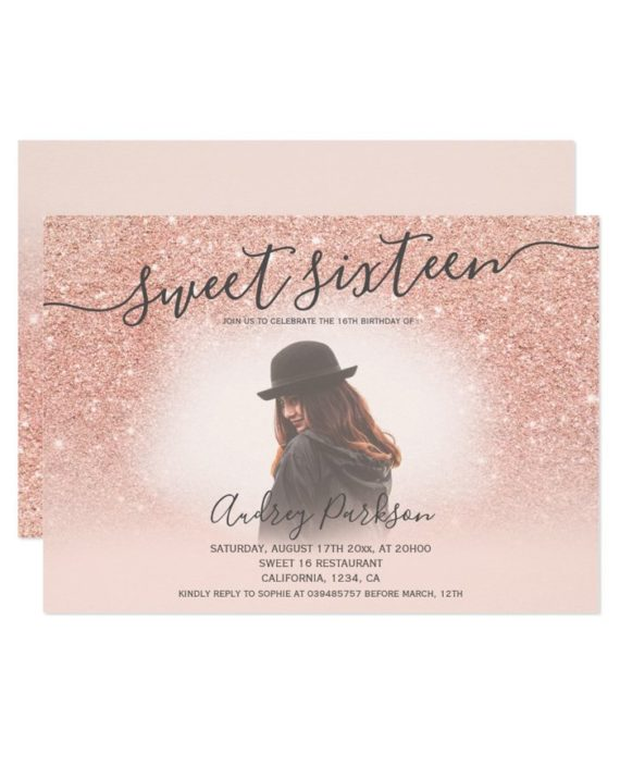 Rose gold glitter blush pink chic Sweet 16 photo Invitation landscape