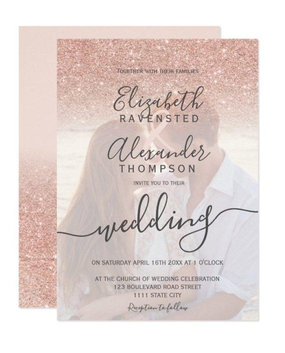 Rose gold glitter ombre pastel pink script photo wedding invitation