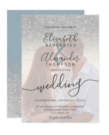 Silver glitter ombre blue script photo wedding invitation