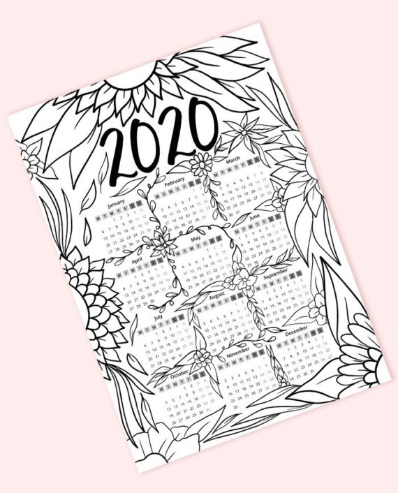 free coloring page 2020 calendar