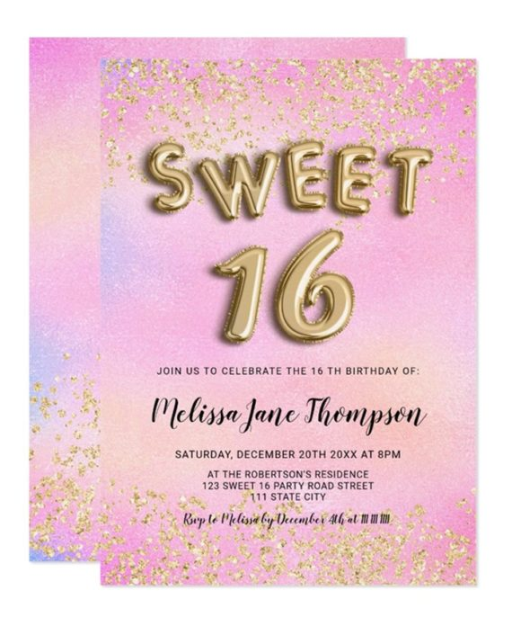 gold confetti balloons pink pearl Sweet 16 Invitation