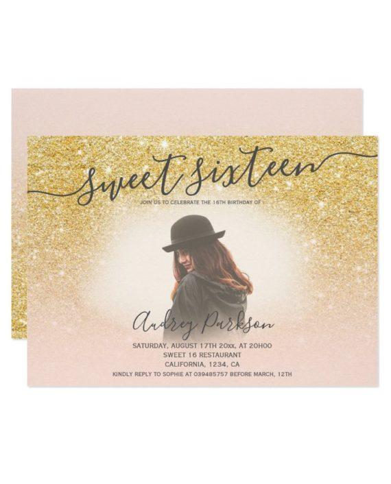 gold glitter blush pink chic Sweet 16 photo Invitation landscape