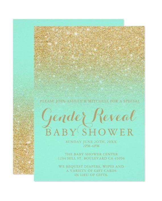 gold glitter mint chic gender reveal baby shower