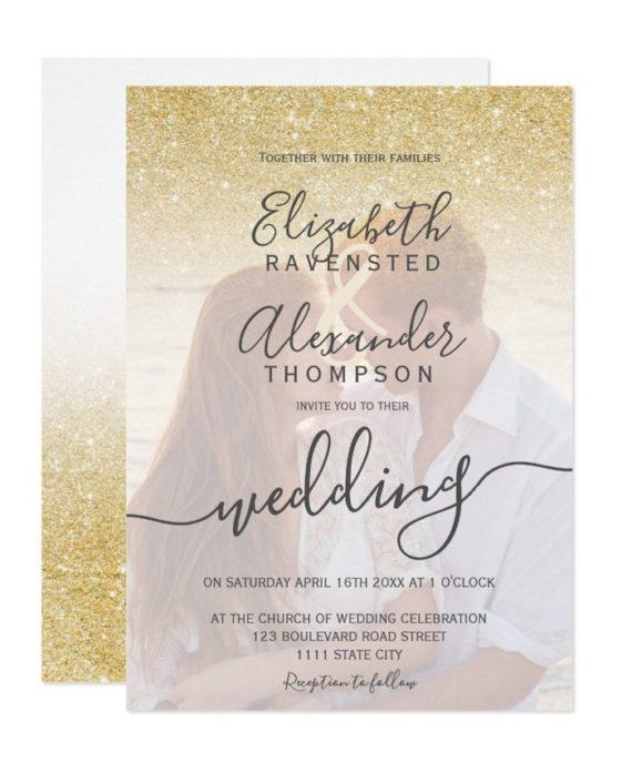 gold glitter ombre script photo wedding invitation