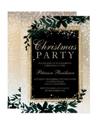 gold typography leaf snow elegant chic Christmas Invitation