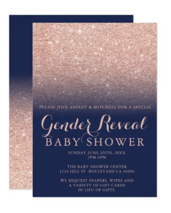 rose gold glitter navy blue chic gender reveal baby shower