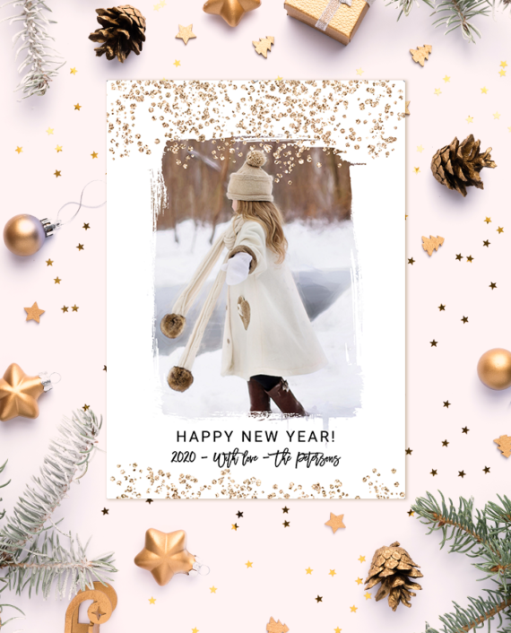 Brushstroke gold glitter confetti New Year photo card preview