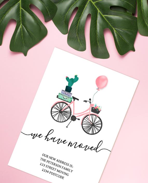 Cute bicycle illustration moving announcement