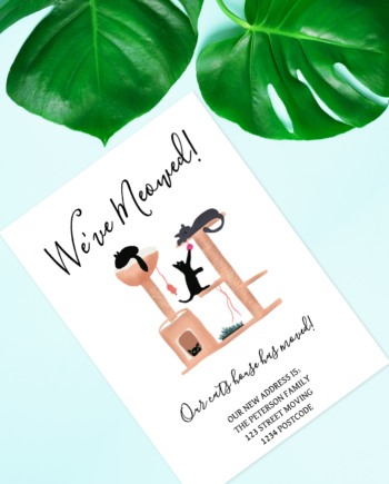 Printable fun cats house illustration moving announcement