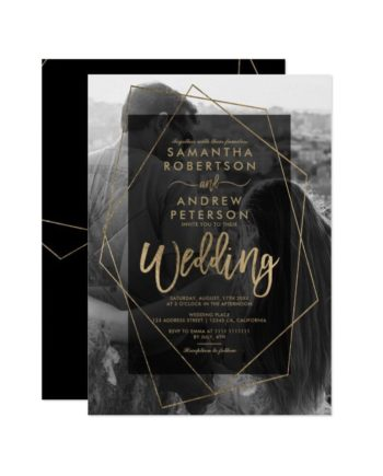 Chic geometric gold typography photo wedding invitation