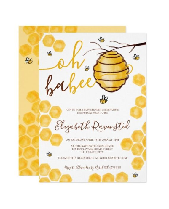 Cute honeycomb beehive watercolor baby shower invitation front