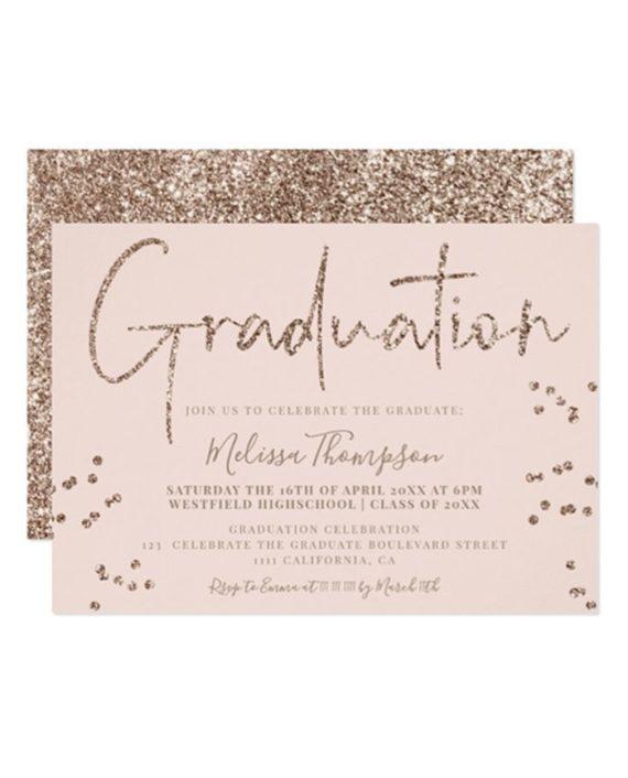 Elegant gold glitter script blush graduation invitation