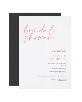 Elegant pink gray casual script bridal shower invitation
