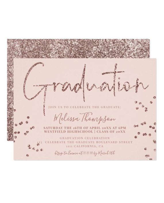 Elegant rose gold glitter script blush graduation invitation