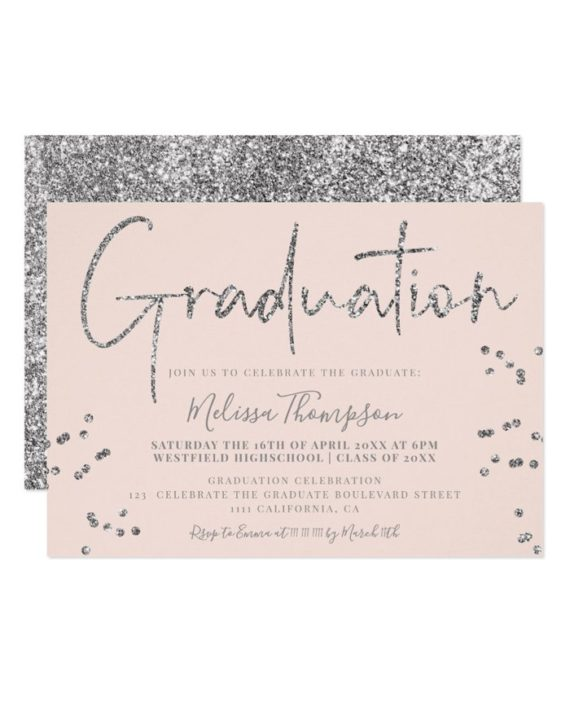 Elegant silver glitter script blush graduation invitation