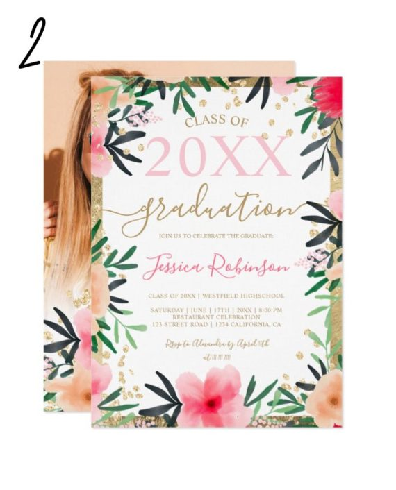 Girly pink floral gold glitter photo graduation invitation 2
