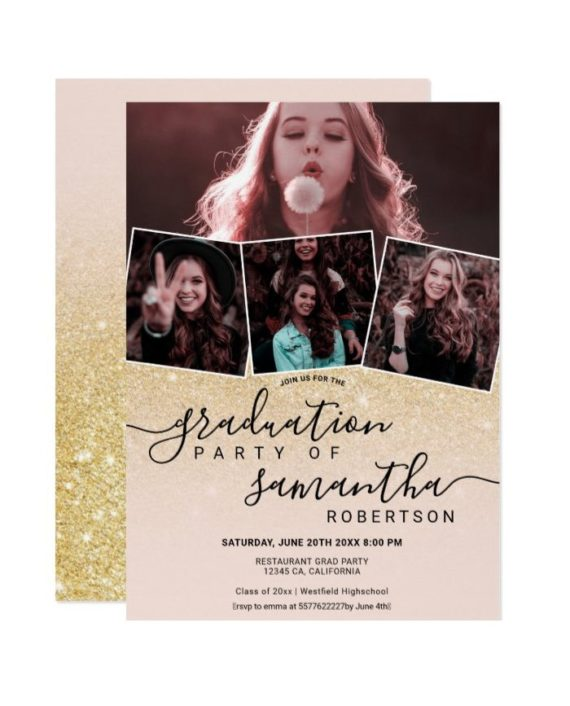 Modern gold glitter script 4 photo graduation invitation