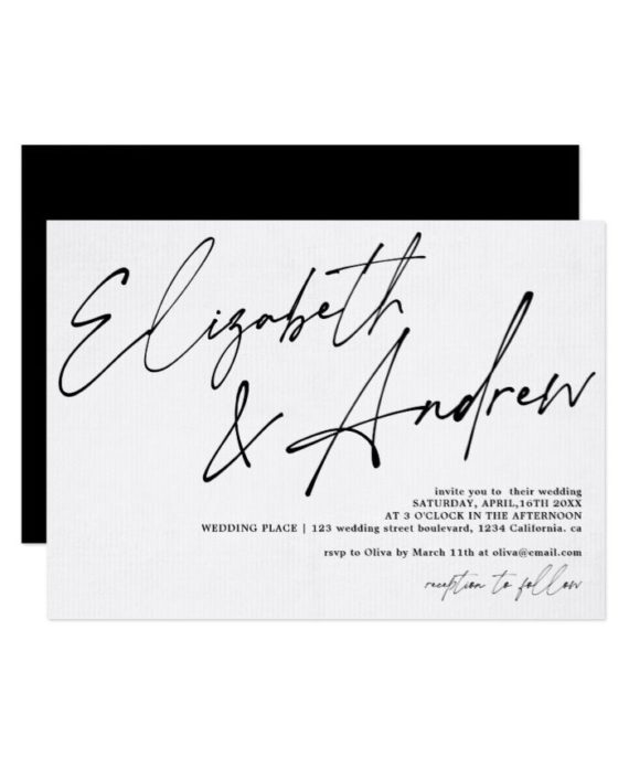 Modern names script calligraphy black wedding invitation landscape preview
