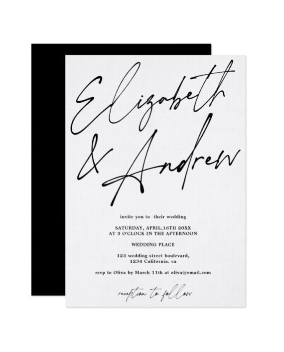 Modern names script calligraphy black wedding invitation preview