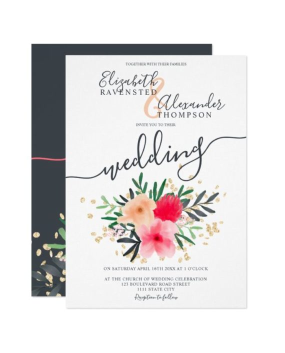Modern pink red watercolor glitter wedding front
