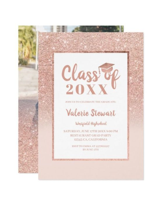 Modern rose gold glitter class of photo graduation invitation