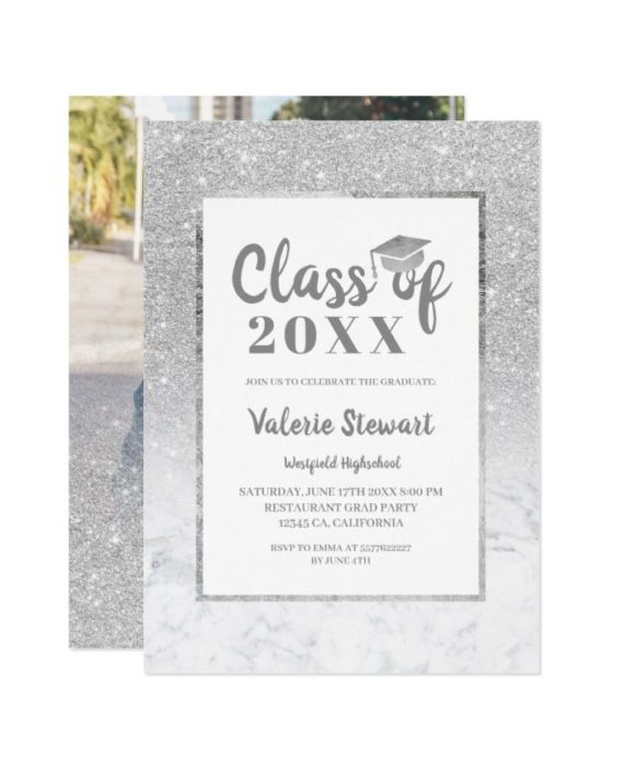 Modern silver marble glitter class of photo graduation invitation preview2
