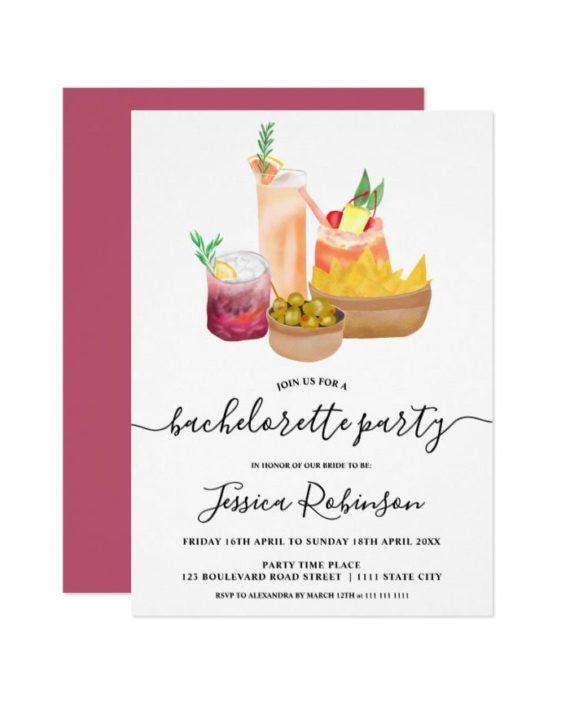 Modern snacks cocktails watercolor bachelorette invitation vertical