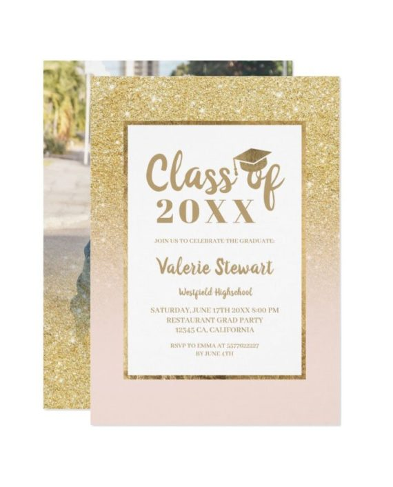 Modern gold glitter class of photo graduation invitation