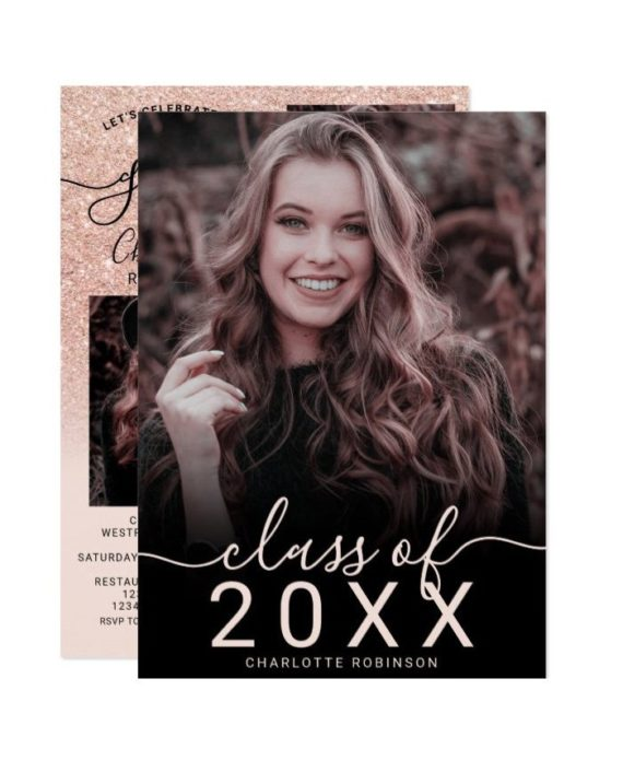 Rose gold glitter pink ombre 5 photos graduation invitation