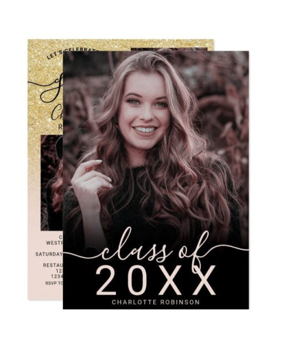 gold glitter pink ombre 5 photos graduation invitation