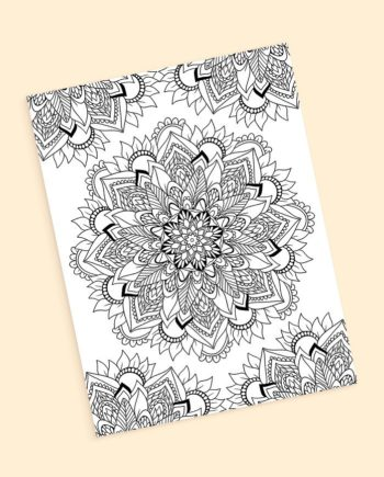 Boho floral mandala coloring page preview
